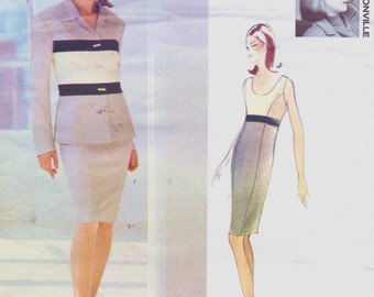 90s Myrene de Premonville Womens Color Blocked Jacket & Dress Jacket Vogue Sewing Pattern 1301 Size 6 8 10 Bust 30 1/2 to 32 1/2 UnCut