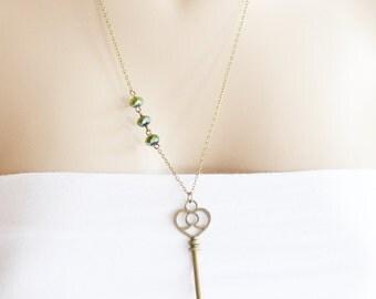 Vintage Skeleton Key Necklace,Vintage Key Pendant,Gift for her under 20, Key to Love,Antique Key Necklace,Large Skeleton Key Pendant