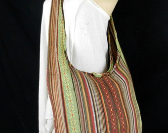 Hand Woven Cotton Bag Purse Hobo Hippie Sling Crossbody Messenger IKAT Lined Top Zip A60