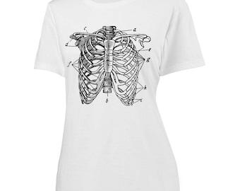 Womens Human Ribcage Screen Printed Shirt