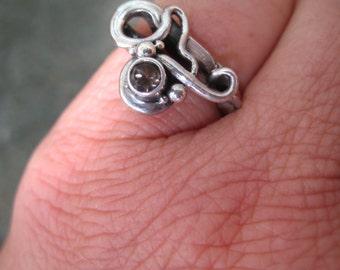 Smokey Quartz Ring-- Hand Forged-- Smokey Quartz Wedding Band-- Unique Ring