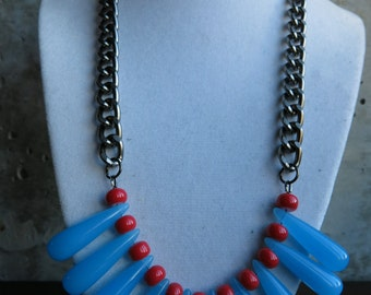 Candy Blue & Fuschia Statement Necklace