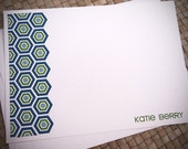 Personalized Stationery - Hexagon - Blue and Green