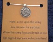 WISH STRING Bracelet HOROSCOPE Zodiac Silvertone Libra Cord Color Choice