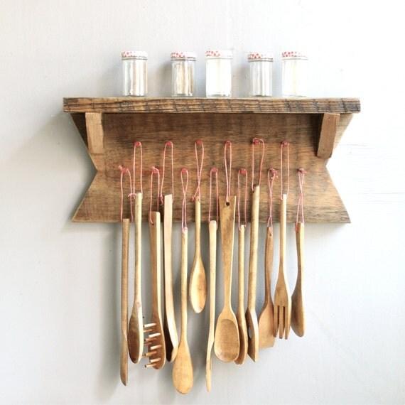 Vintage Wooden Kitchen Utensils With Rack