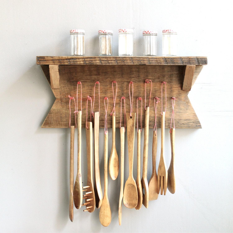 Vintage Kitchen Utensils Images: Vintage Wooden Kitchen Utensils With Rack