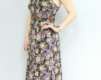 Vintage 90s - Purple & Black - Rose Floral - Lace Up - Criss Cross -  Open Back - Sleeveless Spaghetti Stap - Maxi Dress