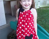 Mickey Mouse Pillowcase Dress, Mickey Mouse Dress in Red with White Polka Dots, Disney Inspired, Personalization Included, Size 2T to 14