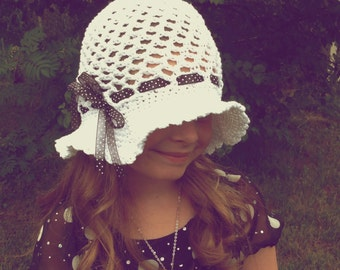 Crochet Pattern for Tessa Sun Hat - Floppy Brim hat - 9 sizes, preemie/doll to large adult - Welcome to sell finished items
