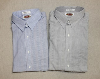 newer vintage -Abbeville Collection- Men's Tab collar dress shirt. 'New Old Stock'. Patterned chambray. Blue or Gray. 16 - Large. Made in SC