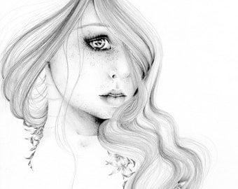 Black and White Fashion Illustration the Beauty Within Fine Art Giclee Print Beautiful Girl Art Women in Art Beauty Face Big Eye Art Print