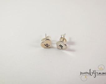 Personalized Earrings - Heart Earrings - Monogram - Custom - Sterling silver - Engrave - Initials - Mom - Gilrs Earrings - Baby Earrings
