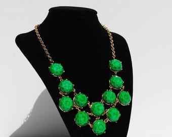 Vintage Inspired Green Kaleidoscope Bib Necklace