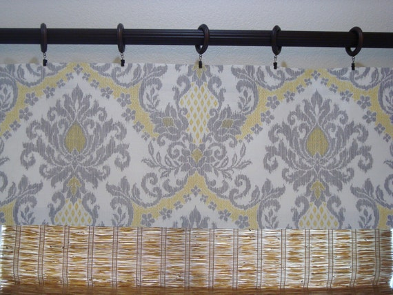 items similar to waverly curtains waverly bedazzled yellow grey damask kitchen curtain kitchen. Black Bedroom Furniture Sets. Home Design Ideas