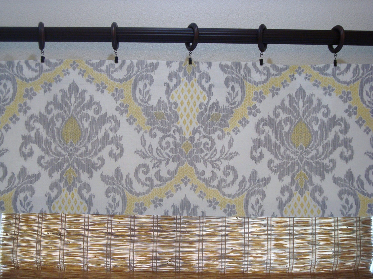 waverly curtains waverly bedazzled yellow grey damask kitchen. Black Bedroom Furniture Sets. Home Design Ideas