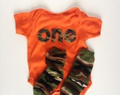 First Birthday Orange Camouflage ONE bodysuit and camouflage leg warmers, Camo Birthday, Hunting Birthday