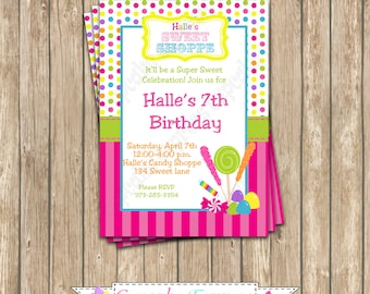 Candy Shoppe Invitation Birthday Party  PRINTABLE lollipop candy shop candyland candy shop girls first birthday