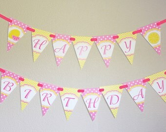Pink Lemonade Banner Birthday Party  PRINTABLE  happy birthday Banner yellow pink lemons party decor INSTANT DOWNLOAD