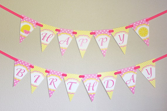 pink lemonade banner birthday party printable happy