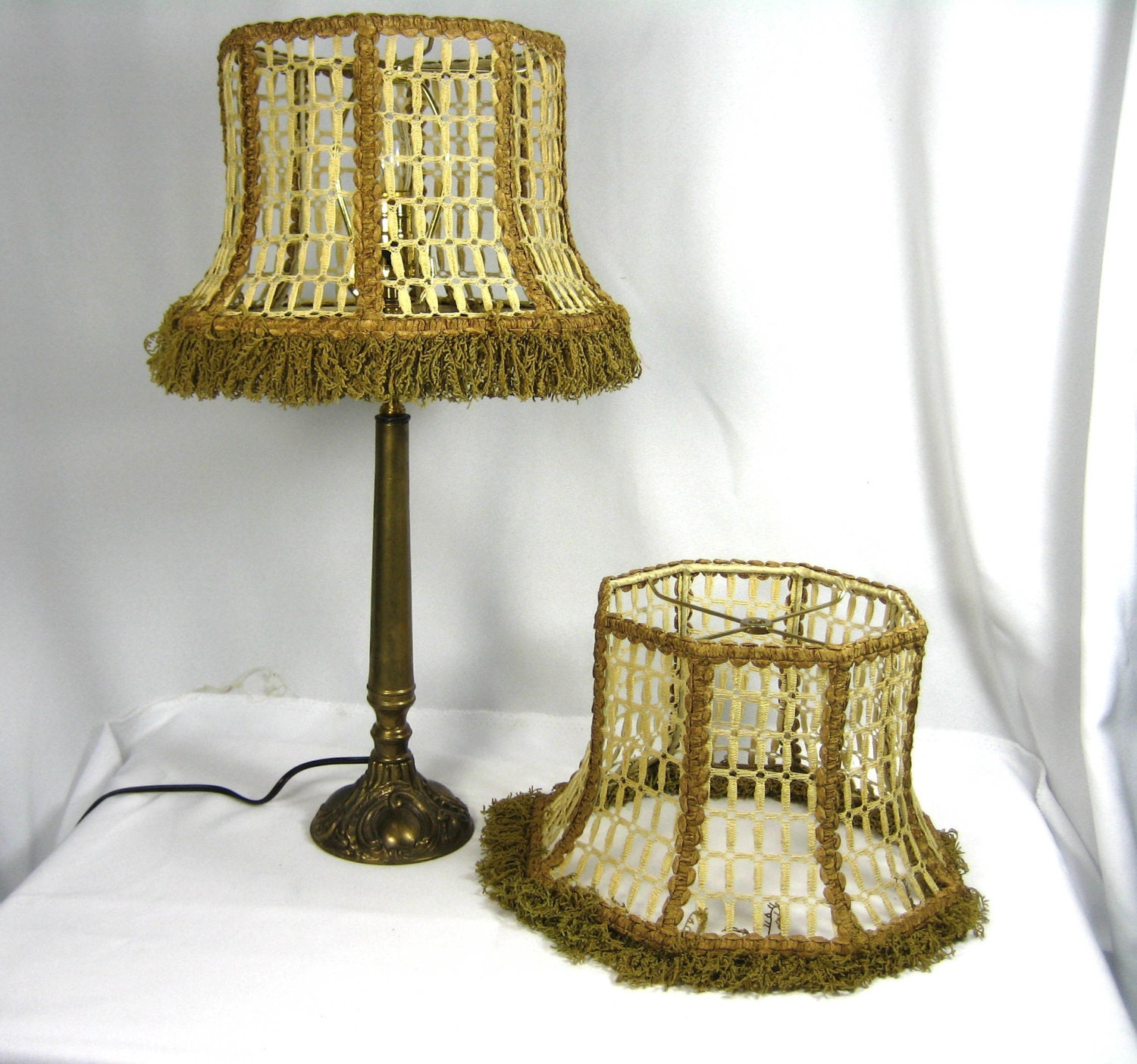 Lamp Shade Handmade Custom PAIR Octagon Bell Mesh with Custom
