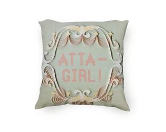 Atta-girl pillow, 1920s inspired pillow, Atta girl pillow, Mint green, Attagirl pillow, Decorative printed pillow, velveteen Pillow Cover
