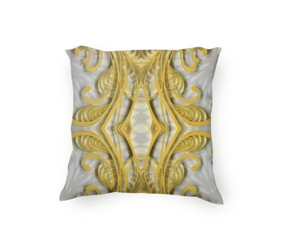 Items similar to Yellow and Gray Decorative Throw Pillow, yellow flourishes, paper quilling ...