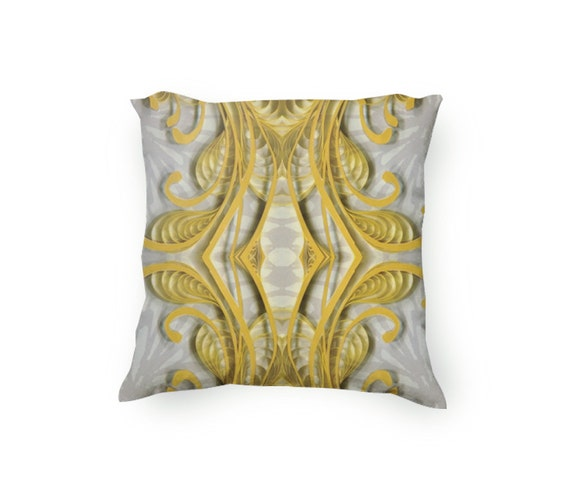 Etsy Yellow Throw Pillow : Items similar to Yellow and Gray Decorative Throw Pillow, yellow flourishes, paper quilling ...