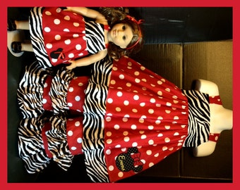 Custom Made Minnie Mouse DRESS & Matching Ruffled Pants Red polka dots and Zebra 24M 2T 3T 4T 5 6 7