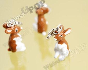 1 - Brown White Easter Bunny Rabbit Pendant Charms, Rabbit Charm, Bunny Charm, 21mm x 12mm (R6-157)