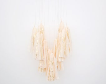 Peach and Gold Leaf Tassel Mobile