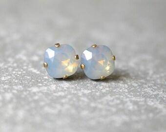 Gray Opal Stud Earrings Swarovski Crystal Opal Post Earrings Super Sparklers Square Mashugana