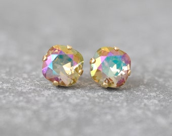 "Champagne Rainbow Earrings Swarovski Crystal Monet's ""Water Lily Pond"" Stud Earrings Mashugana"