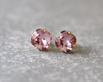 Light Eggplant Pink Earrings Swarovski Crystal Dusty Rose Pink Super Sparklers Square Stud Earrings Mashugana