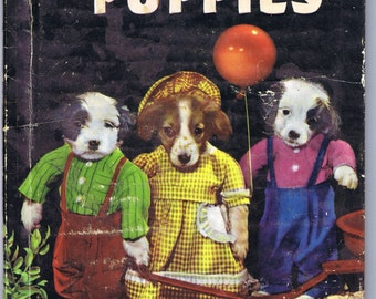 Three Little Puppies Antique Vintage Fifties Children's Book Color Photographs Dogs in Costume