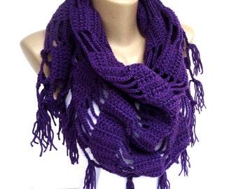 purple Crochet Shawl // Crochet Scarf // Winter Scarf // Gifts For Her // Womens Clothing // Shawl Wrap // Shawl Scarf /// senoaccessory