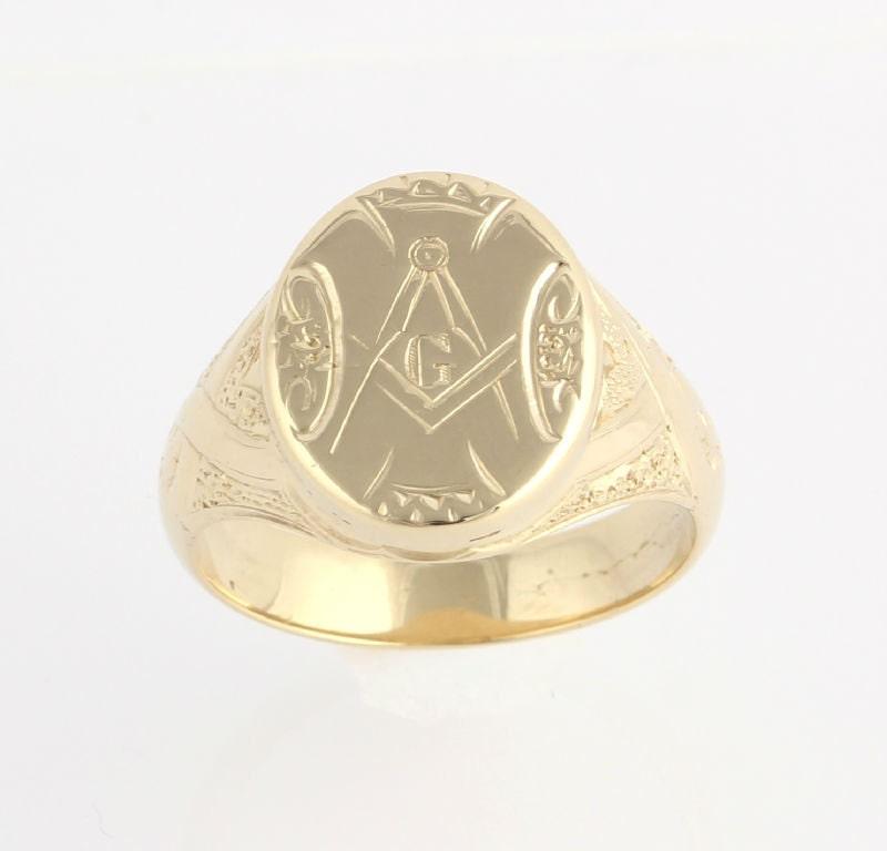 antique fellowcraft masonic ring 14k gold engraved
