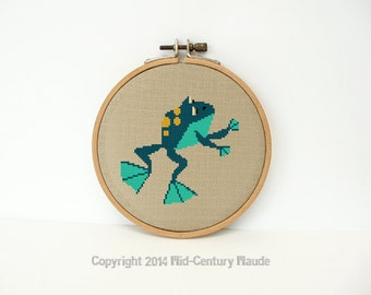 Frog Cross Stitch Pattern Mid Century Instant needlepoint download
