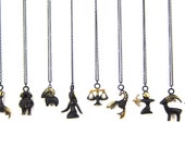 "Zodiac - Walter Bosse ""Black Gold"" Bronze Pendant Necklace - Pick Your Sign - 26"" Chain"