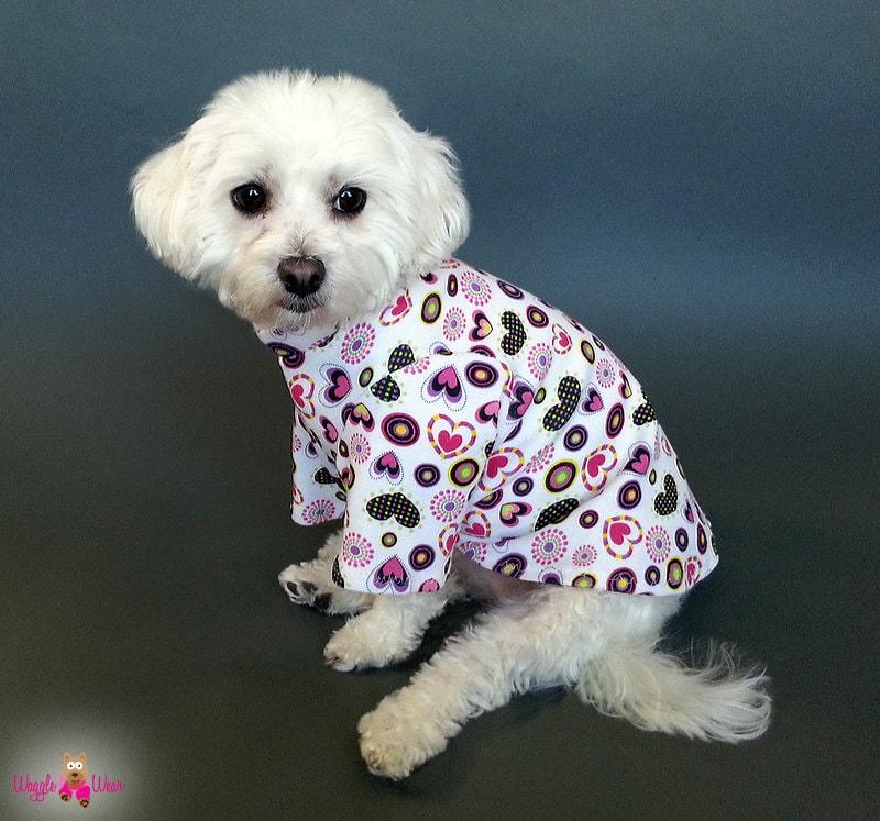 Tshirt Knit Dog Pajamas OR Dog Tank Top with Hearts Design