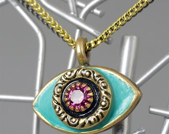 Michal Golan Medium Turquoise and Pink Evil Eye Necklace