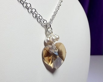 Champagne Heart and Pearls Necklace, Mothers Day Bridesmaid Jewelry, LAST ONE, Mom Sister Girlfriend Gift