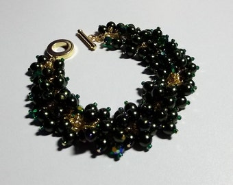 Dark Green Pearl and Crystal Bracelet, St Patricks Day, Mothers Day, Mom Sister Grandmother Jewelry Gift, Cocktail, Gold, Inspired By Chris