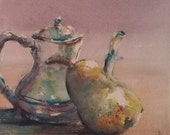 "Still life, pear, pink, tea pot, green, yellow. Teapot and Pear - Original Watercolor Painting 6"" x 6"""