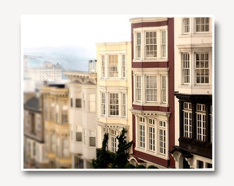 San Francisco photo, san francisco architecture, travel photo, San Francisco houses, muted color, SF California, art print