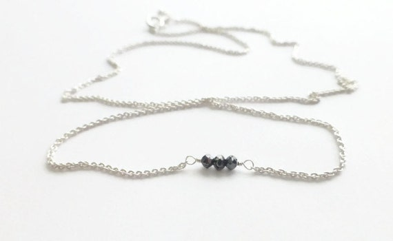 Black Diamond Necklace, Genuine Diamond Jewelry, Little Black Dress, Fine Jewelry, Sterling Silver