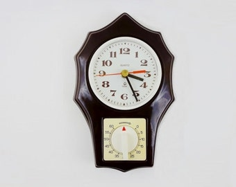 Vintage Ceramic Wall Clock with Kitchen Timer from Poltik