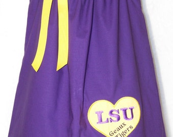 LSU Dress / Geaux Tigers / LSU Baby / Purple / Gold / Newborn / Infant / Baby / Girl / Toddler / Handmade / Custom Boutique Clothing