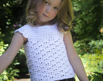 Crochet Top Pattern: 'Mary's Shell', Toddler, 3-5yrs, 6-8yrs