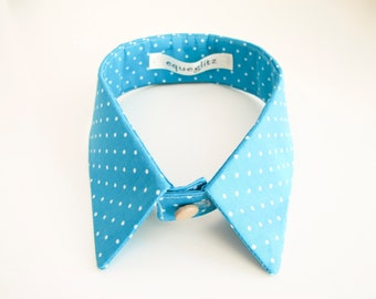 Blue and white polka dots detachable collar with fabric covered buttons