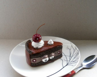 Polymer Clay Cake Sculpture - The Last Slice Of A Chocolate Cherry Cake - Fake Food Decor - Clay Figurine - Halloween Decor - OOAK